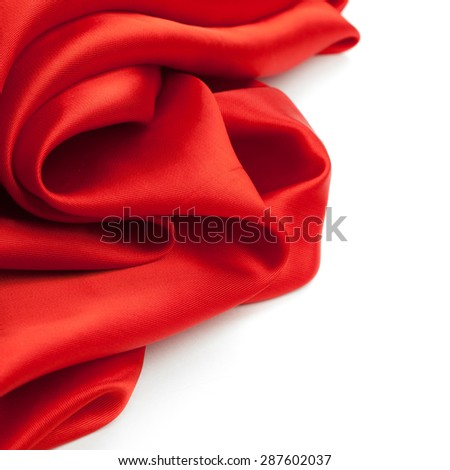 red fabric on a white background