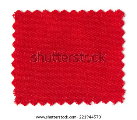 red fabric swatch samples isolated on white background - stock photo