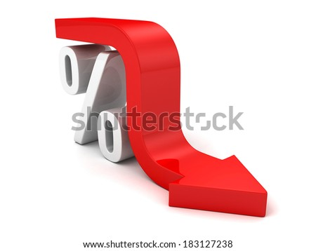 Red Fall Arrow Interest Percent Symbol. Financial Business Concept 3D Render Illustration - stock photo
