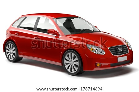 Red Family 3D Car - stock photo