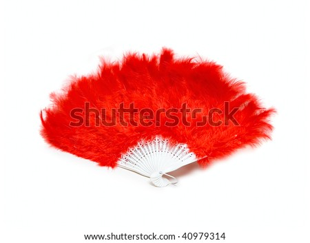Red fan from feather isolated on white - stock photo