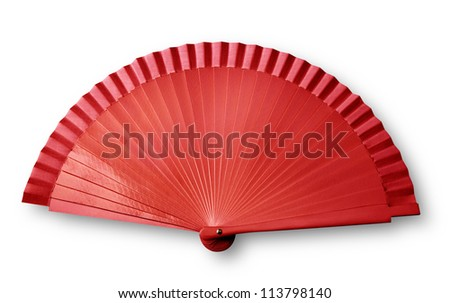 Red fan on white with shadow ( clipping path) - stock photo