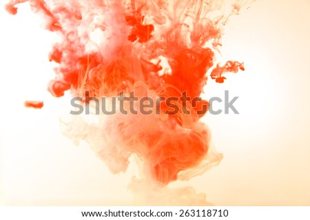 Red Fancy Dream Cloud of ink  in water  soft focus - stock photo