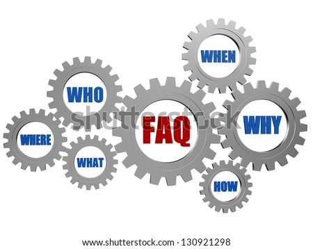 red faq and blue question words in 3d silver grey gearwheels - stock photo