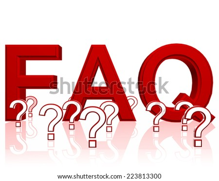 Red FAQ Frequently Asked Questions three dimensional illustration