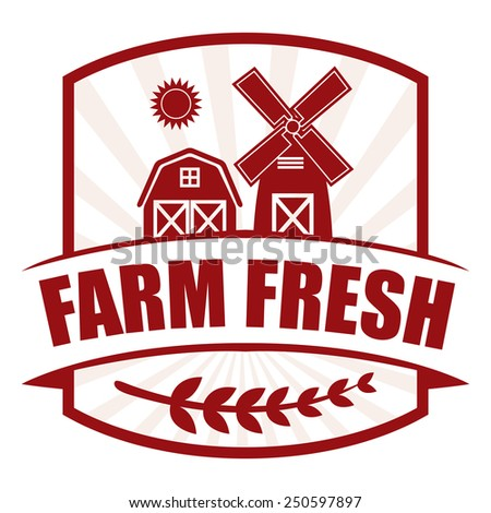 red farm fresh badge, sticker, icon, label isolated on white