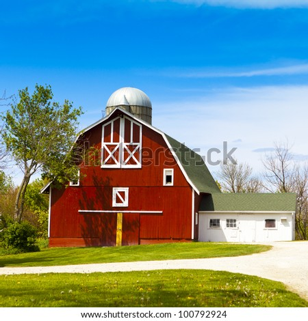Red Farm with Blue sky - stock photo