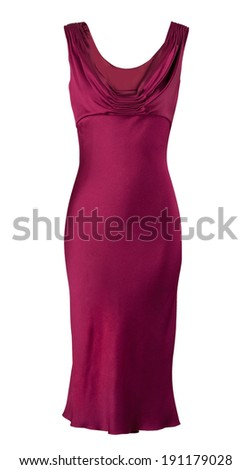 red fashion dress isolated on white - stock photo