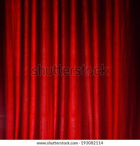 Red felt curtain - stock photo
