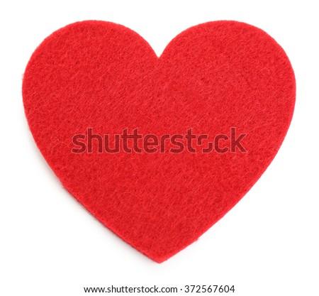 Red felt heart isolated on white background - stock photo