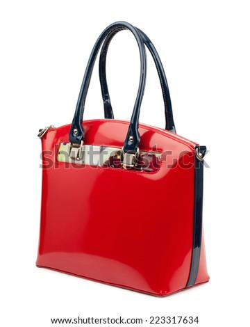 Red female bag isolated on white background.  - stock photo