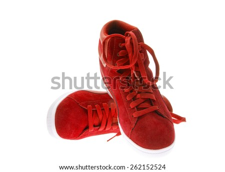 Red Female Beautiful Shoes with High Heels. Isolated on White Background - stock photo