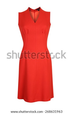 Red female dress isolated on white