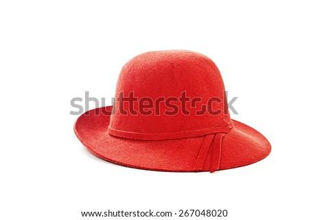 Red female felt hat. Isolated on white background - stock photo
