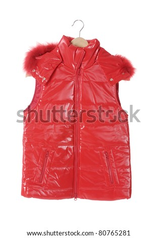 Red female jacket on a wooden hanger - stock photo