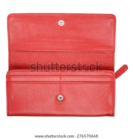 Red female wallet isolated on white background. With clipping path - stock photo