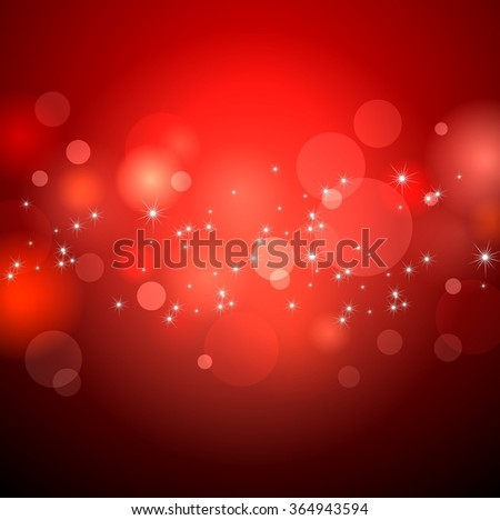 Red festive glare the bokeh background for Valentine's day. A lot of shiny stars. - stock photo