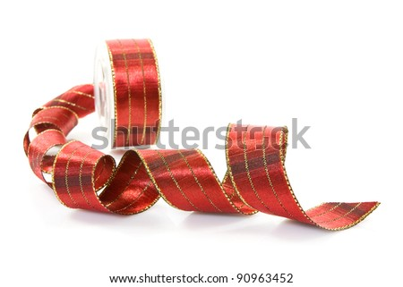 red festive ribbon  over a white background - stock photo
