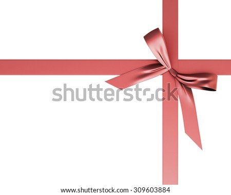 Red festive ribbon with a bow isolated on white background. Festive ribbon with a bow for your design. 3d. - stock photo