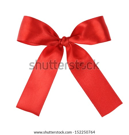 red festive tied bow made from ribbon, isolated on white - stock photo