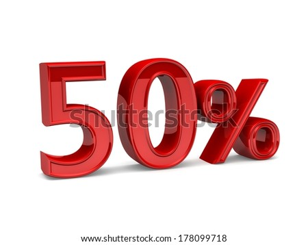 Red fifty percent, isolated on white background. 50%