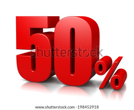 Red Fifty Percent Number on White Background 3D Illustration - stock photo