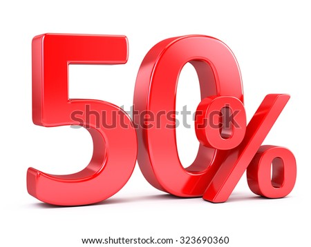 Red fifty percents discount - stock photo