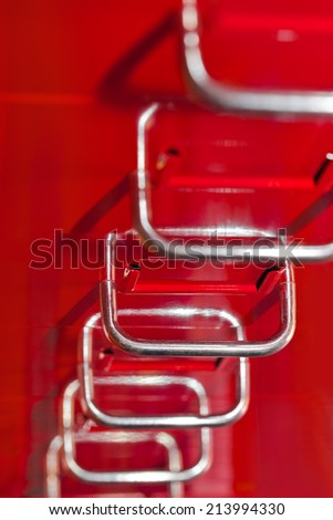 Red file cabinet with drawers - business background - stock photo