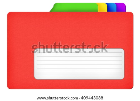 Red file folder illustration with colored bookmarks and blank area isolated over white background - stock photo