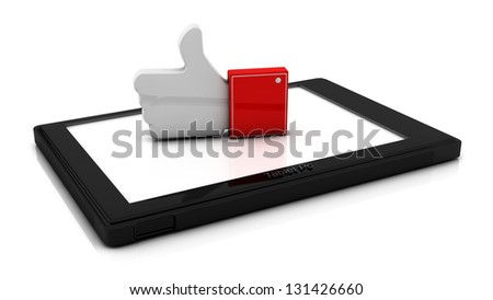 Red finger up on a tablet in 3d - stock photo