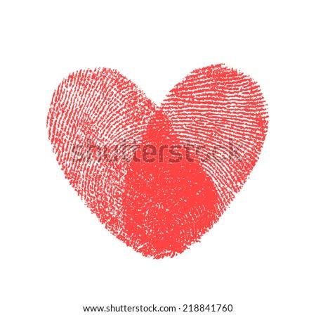 red fingerprint heart shape on white background  - stock photo