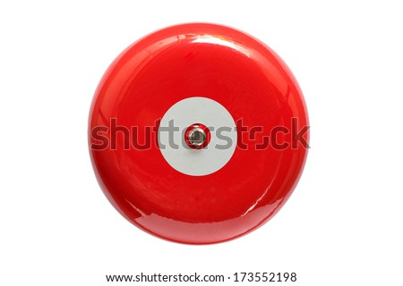 Red fire alarm isolated on white background - stock photo