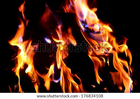 Red fire and flame with a black background