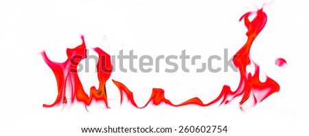 Red fire and flames on white background