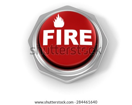 Red fire button on white background  - stock photo