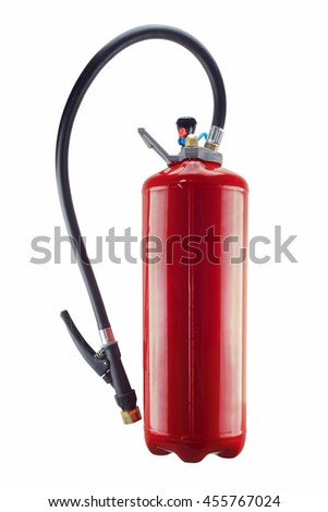 red fire extinguisher isolated  and its handle on white background - stock photo