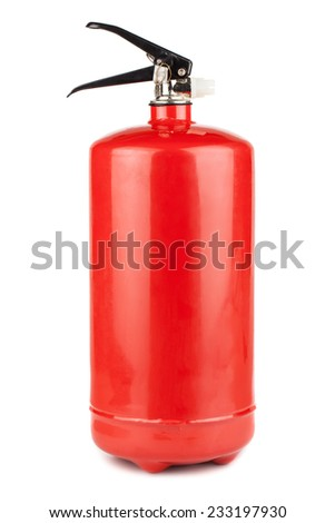 Red fire extinguisher isolated on white background - stock photo