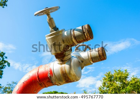 Red fire hydrant, Fire plug, Fire valve, Fire safety for security.