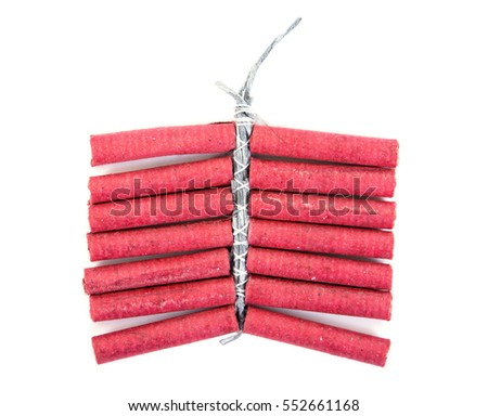 Red Firecrackers on white background.Firecrackers isolated