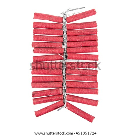 Red firecrackers string isolated on white background.Firecrackers - stock photo