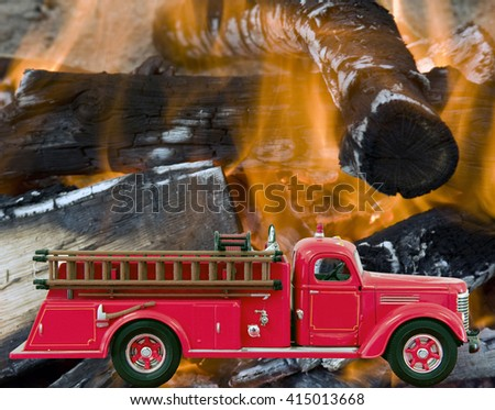 Red Firetruck over a fire and flames background - stock photo