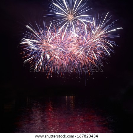 Red fireworks - stock photo