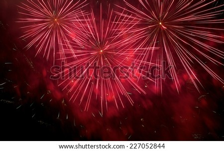 Red fireworks background isolated in dark close up with the place for text, Malta fireworks festival, 4 of July, Independence day, New Year, explode, only explode, red fireworks, blurry - stock photo