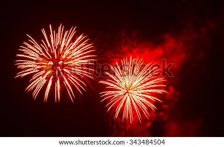red fireworks in the night - stock photo