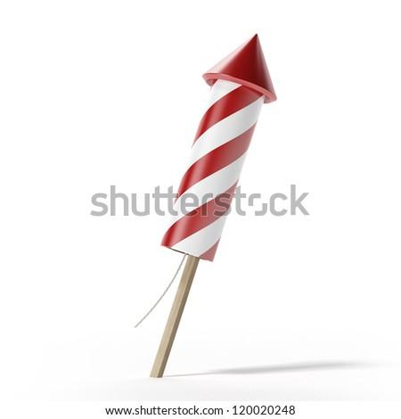 Red fireworks rocket - stock photo