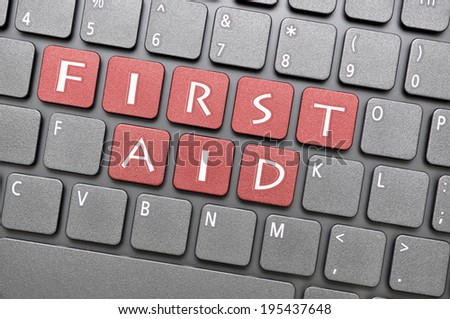 Red first aid key on keyboard