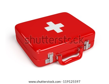 Red first aid kit. 3d image. Isolated white background.