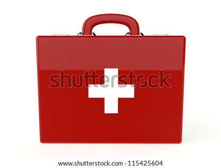 Red first aid kit on white background