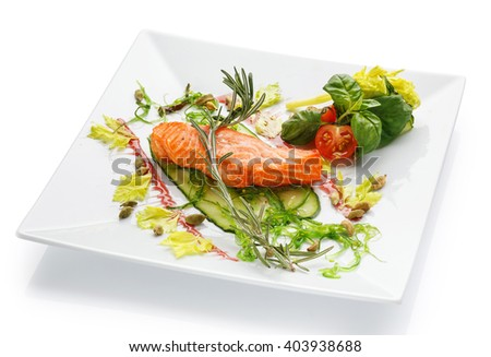 Salmon steak fruits vegetables asparagus lemon stock photo for Red fish catering