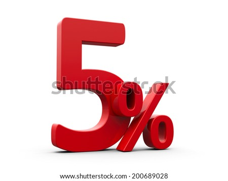 Red five percent sign isolated on white background, three-dimensional rendering